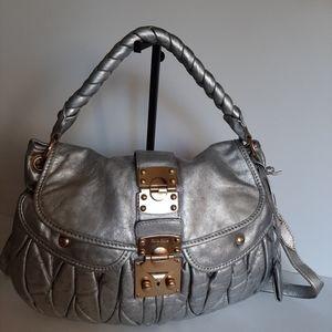 MIU MIU Silver Matelasse Nappa Leather Coffer Hobo